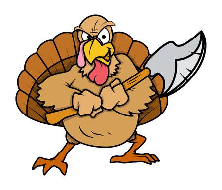 Angry Turkije Vogel met Dagger Stock Illustratie