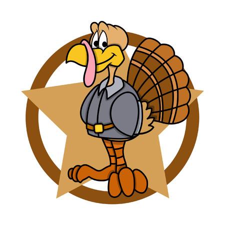 funny turkey: Funny Turkey with Star Graphic Illustration