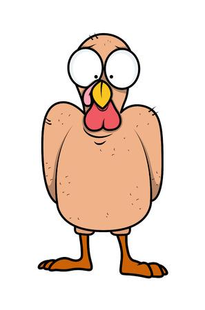 Funny Scared Turkey Bird Character Illustration