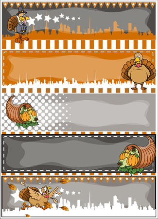 Thanksgiving Day Vector Banners Set Vector