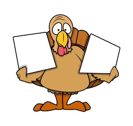 turkey bird: Shocked Turkey Bird Holding Blank Boards