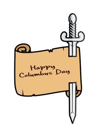 papier banner: Gl�ckliches Columbus Day Papier Banner mit Schwert