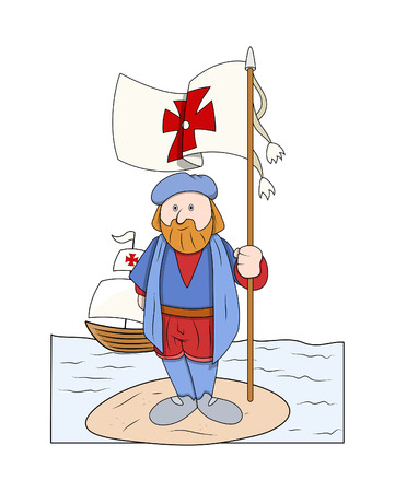 Cartoon Man Standing with Flag at Island Illustration