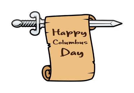 columbus: D�a de la Raza Espada Banner Vectores
