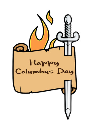 burning paper: Vector Columbus Day Sword Banner with Fire Illustration
