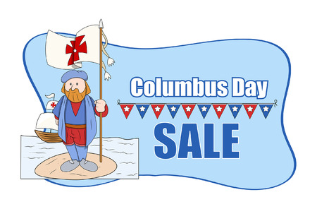 Cartoon Man with Flag Columbus Day Sale Banner