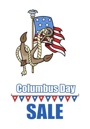 columbus: D�a de la Raza ancla EE.UU. bandera Vector Banner