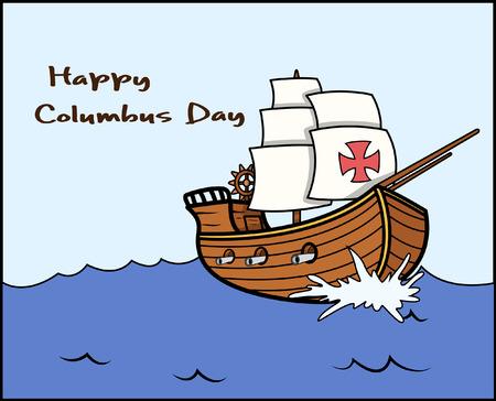 Happy Columbus Day Sailing Boat Vector Graphic Illustration