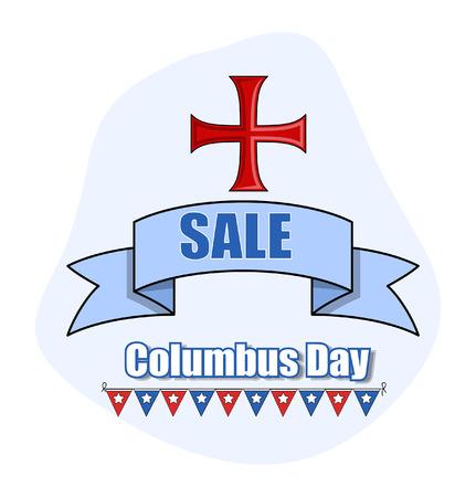 columbus: D�a de la Raza Vector Bandera de la venta del fondo