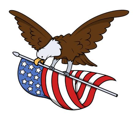 eagle flying: Eagle Bird Flying with USA Flag Vector