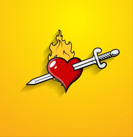 Sword Kill Heart Vector Illustration