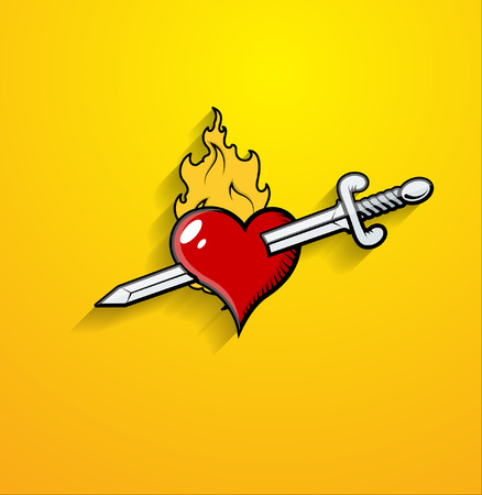 sword and heart: Sword Kill Heart Vector Illustration
