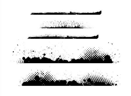 s�parateurs: Grunge Halftone s�parateurs Vecteurs Illustration