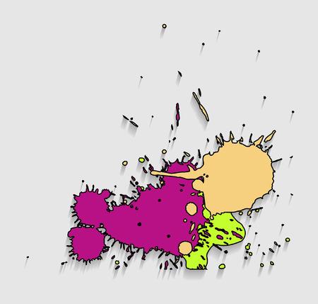 separator: Vintage Colored Paint Drops Illustration