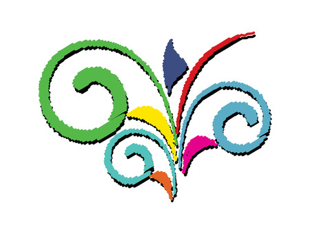colored: Abstract Colored Flourish Illustration