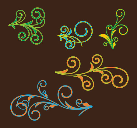 Abstract Retro Flourish Designs Vector