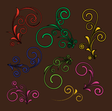 Retro Flourish Design Elements Vector