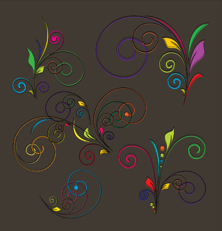Decorative Festive Florals Set Vector