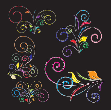 Colorful Decorative Flourish Art Elements Vector