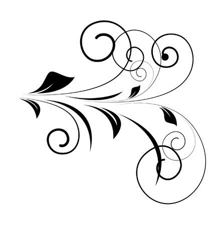 swirl: Swirl Floral Elements Silhouette Illustration