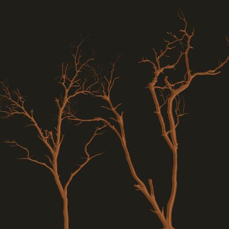 horrible: Horrible Halloween Dead Trees Illustration