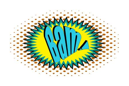bam: Retro Bam Text Banner Illustration