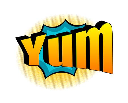 yum: Retro Yum Text Banner Illustration