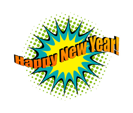 happy new year text: Happy New Year Retro Text Banner