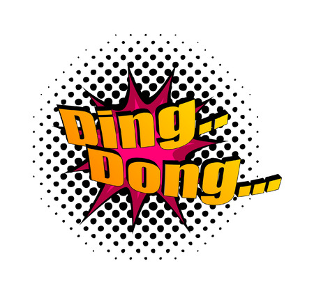 ding dong: Retro Ding Dong Text Banner Illustration