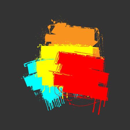 grunge banner: Colored Grunge Striped Banner Illustration