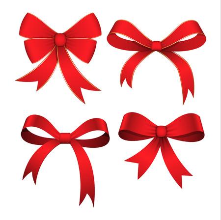 Set of Red Ribbon Bows