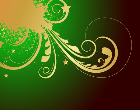 Grunge Golden Patricks Day Floral Graphic Vector