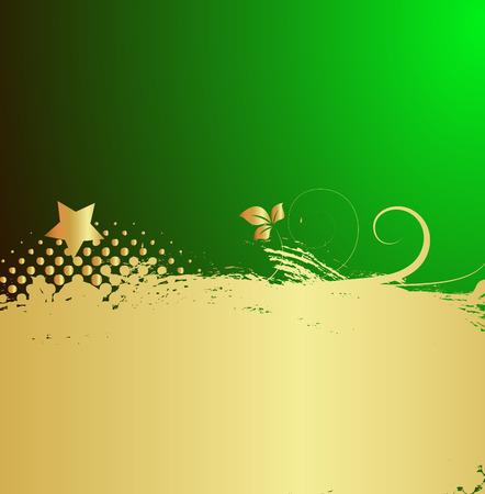 Grunge Golden Floral Holiday Background Vector