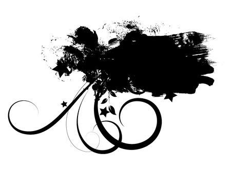 rozpraszać: Grunge banner Kształt rozkwit Punktowy Ilustracja