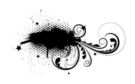 grunge banner: Grunge Flourish Halftone Banner