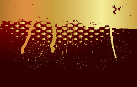 paint dripping: Golden Halftone Grunge Paint Dripping Illustration