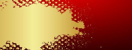 grunge banner: Grunge Halftone Golden Banner