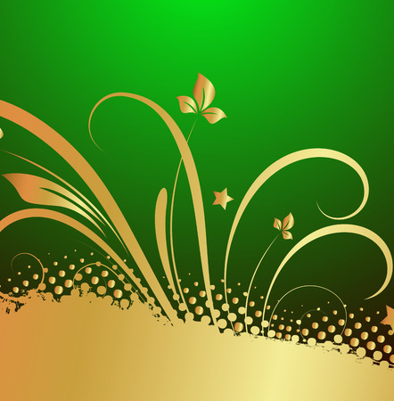 Grunge Golden Floral Patricks Day Background Vector