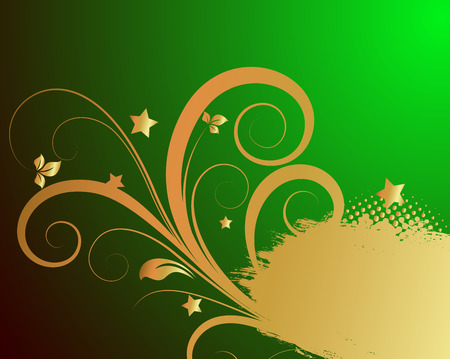 holiday background: Grunge Golden Floral Holiday Background