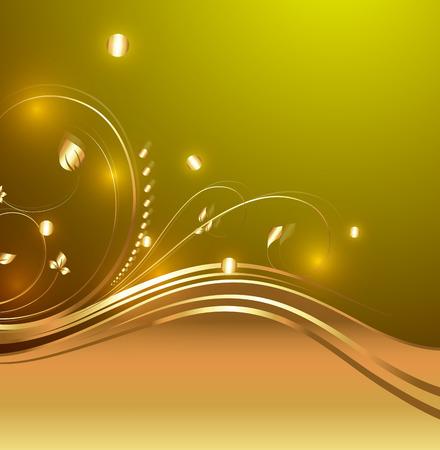 Bright Decorative Golden Flourish Design Elements Vector