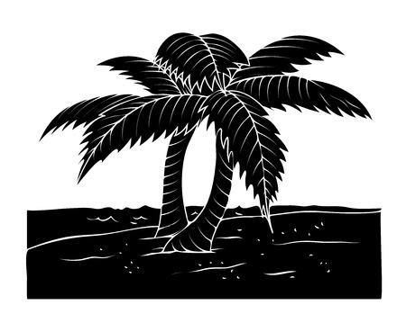 trees landscape: Black Shape Coconut Trees Landscape