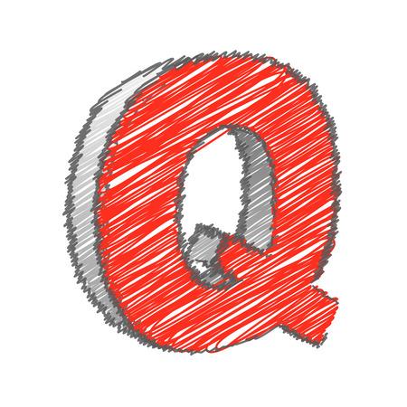 q: Scribble Q Alphabet vettore