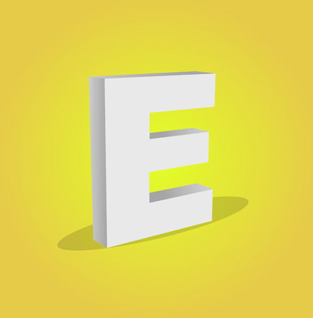 e alphabet: 3d Vector Alphabet E Text