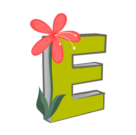e alphabet: Vector E Alphabet with Flower Illustration