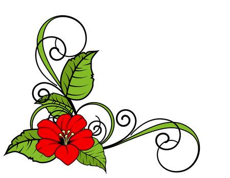 Red Flower Swirl Corner Frame Stock Illustratie