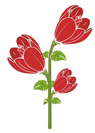 tulipe rouge: Branche Rouge Tulip Fleurs Illustration