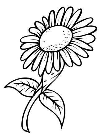 sunflower drawing: Retro Sunflower Drawing Illustration