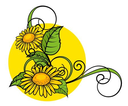 yellow blossom: Yellow Blossom Flourish Corner Frame Illustration