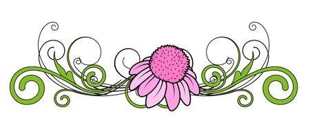 pink flower: Pink Flower Vector Divider
