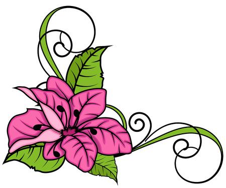 Pink Flower Swirl Frame Corner Archivio Fotografico - 36249522